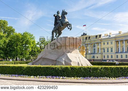 Monument To Peter The Great And Constitutional Court On Senate Square In Saint Petersburg, Russia