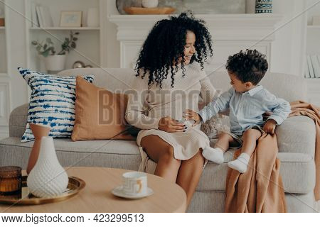 Lovely Pregnant Mixed Race Woman Mother Explaining To Curious Son About His Future Brother Or Sister