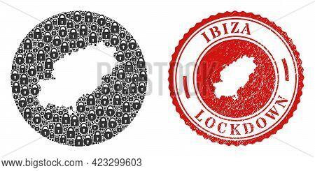 Vector Collage Ibiza Island Map Of Locks And Grunge Lockdown Stamp. Mosaic Geographic Ibiza Island M