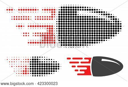 Flying Bullet Halftone Dotted Icon. Halftone Pattern Contains Circle Points. Vector Illustration Of