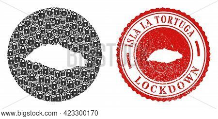 Vector Mosaic Isla La Tortuga Map Of Locks And Grunge Lockdown Seal Stamp. Mosaic Geographic Isla La