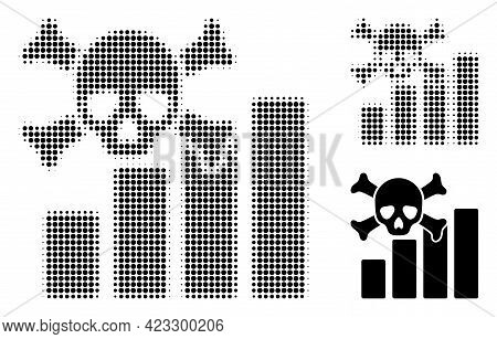 Death Chart Halftone Dotted Icon. Halftone Pattern Contains Circle Elements. Vector Illustration Of