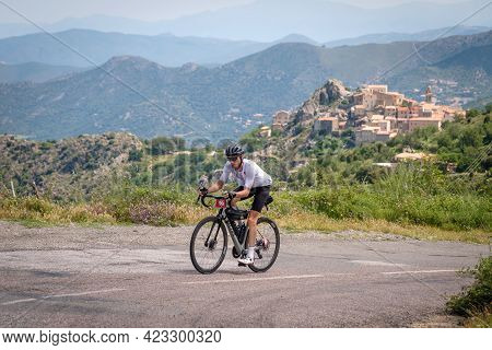 Speloncato, Corsica, France - 9th June 2021: Nico Faure Competing In The 2021 Bikingman Corsica Race