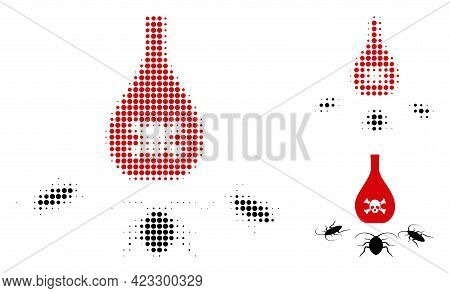 Cockroach Poison Halftone Dotted Icon. Halftone Array Contains Round Pixels. Vector Illustration Of