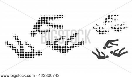 Dead People Halftone Dotted Icon. Halftone Array Contains Round Pixels. Vector Illustration Of Dead