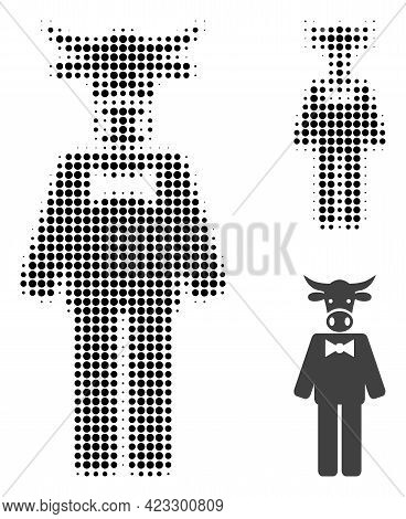 Bull Gentleman Halftone Dotted Icon. Halftone Array Contains Circle Pixels. Vector Illustration Of B