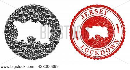 Vector Mosaic Jersey Island Map Of Locks And Grunge Lockdown Seal Stamp. Mosaic Geographic Jersey Is