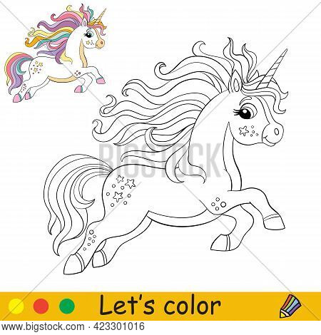 Cute Running Unicorn With Rainbow Long Mane And Tail. Coloring Book Page With Colorful Template For
