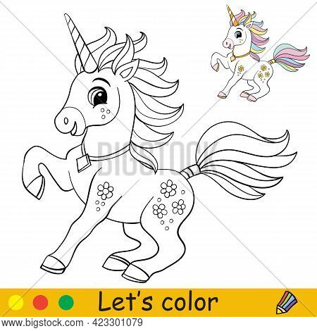 Cartoon Cute And Funny Frolicking Unicorn. Coloring Book Page With Colorful Template For Kids. Vecto