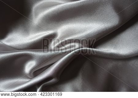 Background - Draped Simple Glossy Gray Polyester Satin Fabric