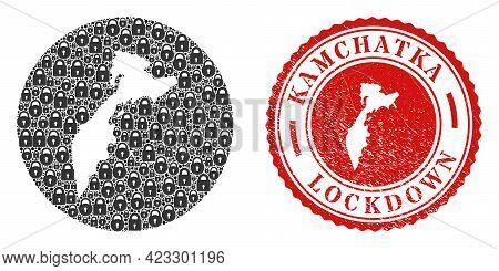 Vector Collage Kamchatka Map Of Locks And Grunge Lockdown Seal. Mosaic Geographic Kamchatka Map Desi