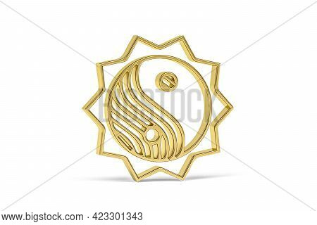 Golden 3d Chinese Culture Icon Isolated On White Background - 3d Render