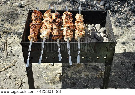 Cooking Barbecue In Nature. Roast Meat Over A Fire, Top View, Barbecue On Skewers. Departure For Nat