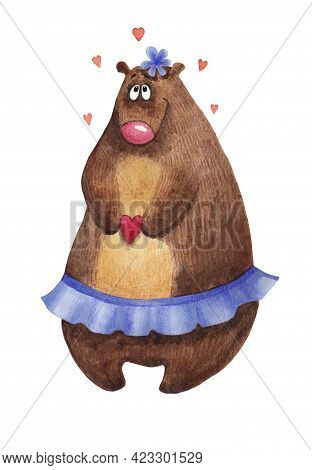 Watercolor Bear With A Heart In The Hands On A White Background. A Lovesick Bear With A Blue Skirt A