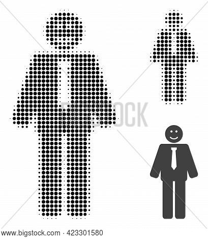 Happy Boss Halftone Dotted Icon. Halftone Array Contains Round Pixels. Vector Illustration Of Happy