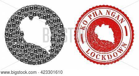Vector Mosaic Ko Pha Ngan Map Of Locks And Grunge Lockdown Seal. Mosaic Geographic Ko Pha Ngan Map C