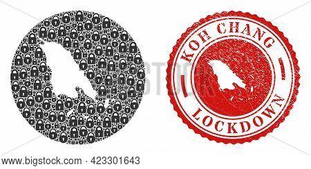 Vector Mosaic Koh Chang Map Of Locks And Grunge Lockdown Stamp. Mosaic Geographic Koh Chang Map Crea