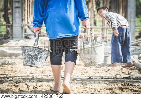 Poor Children Work In Construction Sites Because Of Poverty, Child Labor, Human Trafficking, World D