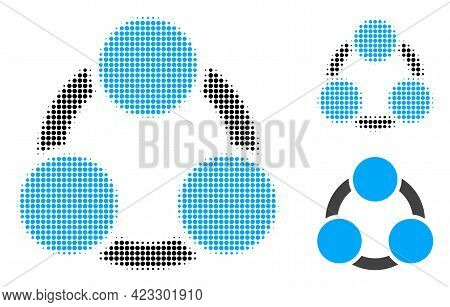Cooperation Halftone Dotted Icon. Halftone Pattern Contains Circle Points. Vector Illustration Of Co