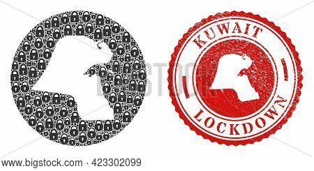 Vector Mosaic Kuwait Map Of Locks And Grunge Lockdown Stamp. Mosaic Geographic Kuwait Map Designed A