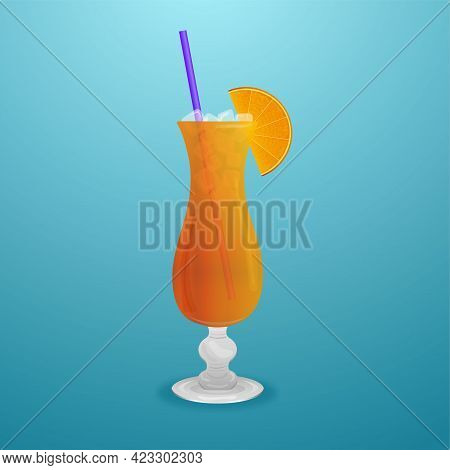 Summer Citrus Cocktail In A Glass With A Straw
