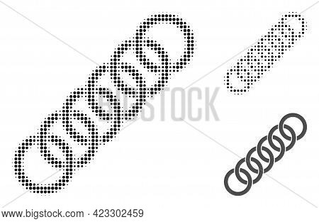 Circle Chain Halftone Dotted Icon. Halftone Array Contains Round Pixels. Vector Illustration Of Circ