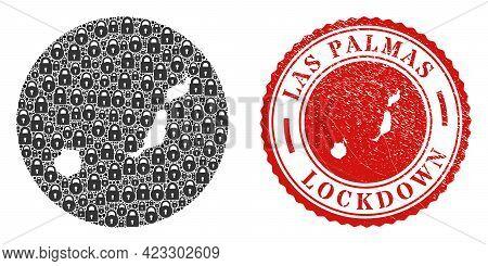Vector Mosaic Las Palmas Province Map Of Locks And Grunge Lockdown Seal Stamp. Mosaic Geographic Las