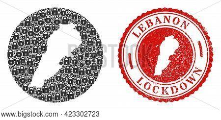 Vector Mosaic Lebanon Map Of Locks And Grunge Lockdown Seal Stamp. Mosaic Geographic Lebanon Map Des