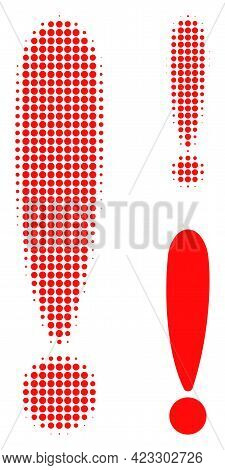 Exclamation Sign Halftone Dotted Icon. Halftone Pattern Contains Round Pixels. Vector Illustration O