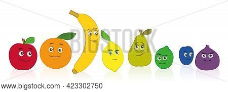 Comic Fruits, Rainbow Colored Set With Smiling And Funny Faces. Apple, Orange, Banana, Lemon, Pear,