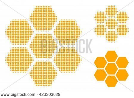 Honeycombs Halftone Dotted Icon. Halftone Pattern Contains Circle Points. Vector Illustration Of Hon