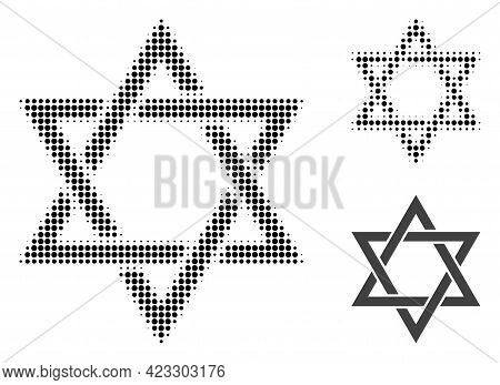 David Star Halftone Dotted Icon. Halftone Pattern Contains Circle Dots. Vector Illustration Of David