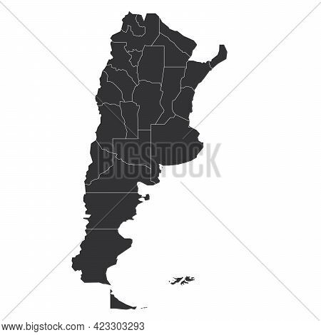 Grey Political Map Of Argentina. Administrative Divisions - Provinces. Simple Flat Blank Vector Map.