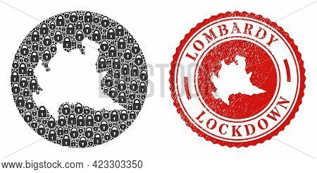 Vector Mosaic Lombardy Region Map Of Locks And Grunge Lockdown Seal Stamp. Mosaic Geographic Lombard