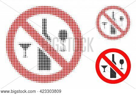 Forbidden Wine Drinks Halftone Dotted Icon. Halftone Array Contains Circle Dots. Vector Illustration