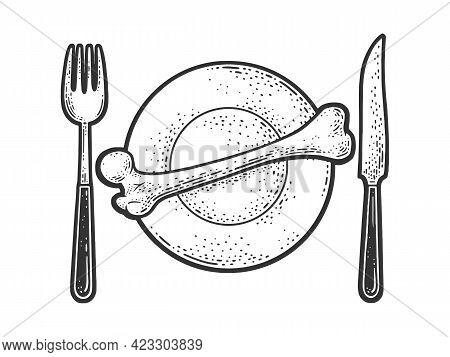 Bone On Plate Line Art Sketch Engraving Vector Illustration. T-shirt Apparel Print Design. Scratch B