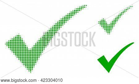 Confirm Tick Halftone Dotted Icon. Halftone Pattern Contains Round Points. Vector Illustration Of Co