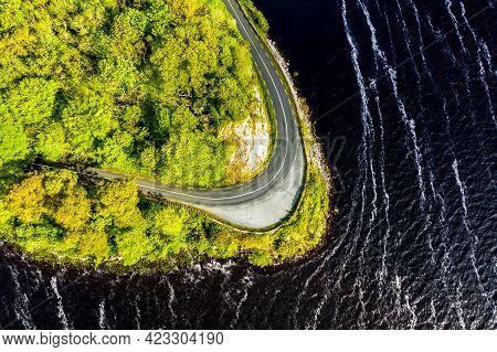 Scenic Coastal Road Close To Parkes Castle, In County Leitrim, Ireland.