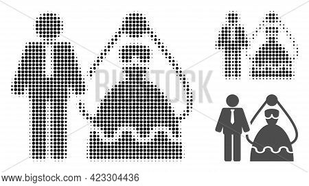 Bride And Groom Halftone Dotted Icon. Halftone Pattern Contains Circle Pixels. Vector Illustration O