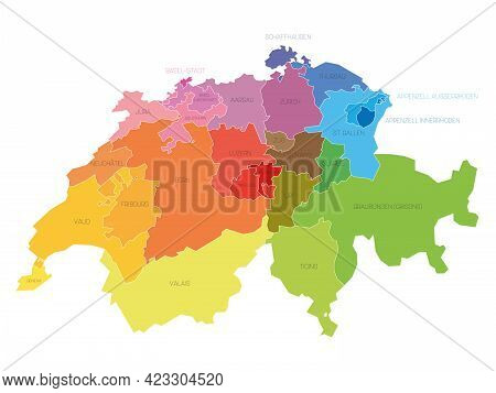 Colorful Political Map Of Switzerland. Administrative Divisions - Cantons. Simple Flat Vector Map Wi
