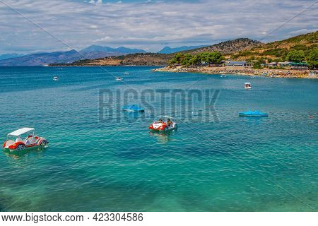 Ksamil, Albania - August 5, 2020: View Of Beautiful Summer Resort - Sea Bay With Turquoise Water, Wh