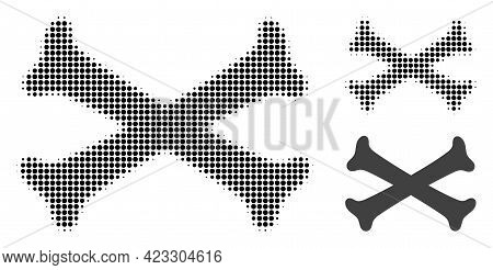 Crossing Bones Halftone Dotted Icon. Halftone Pattern Contains Round Dots. Vector Illustration Of Cr