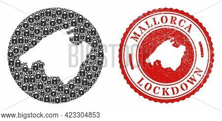 Vector Collage Mallorca Map Of Locks And Grunge Lockdown Seal Stamp. Mosaic Geographic Mallorca Map