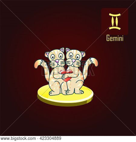 Gemini Zodiac Sign In The Form Of Cute Cats