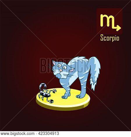 Scorpio Zodiac Sign In The Form Of Cute Cat