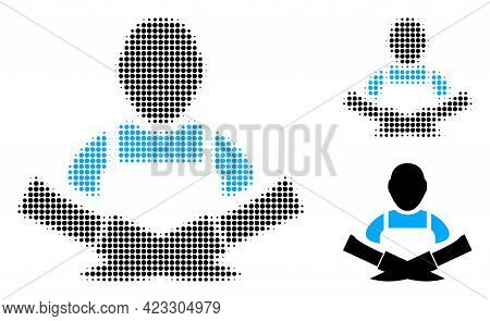 Butcher Halftone Dotted Icon. Halftone Pattern Contains Round Elements. Vector Illustration Of Butch