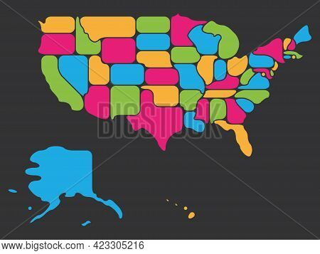 Colorful Simplified Map Of Usa, United States Of America. Retro Style. Geometrical Shapes Of States