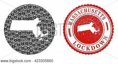 Vector Mosaic Massachusetts State Map Of Locks And Grunge Lockdown Seal Stamp. Mosaic Geographic Mas