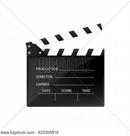 Movie Clapper Isolated On White. Black Open Clapperboard. Vector Illustration. Video Icon. Film Maki