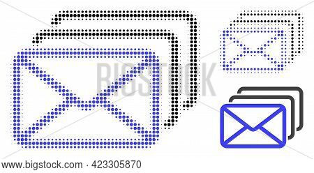 Mail Queue Halftone Dotted Icon. Halftone Array Contains Round Dots. Vector Illustration Of Mail Que
